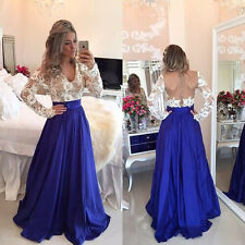 Womens Lace Backless Party Ball Prom Gown Formal Bridesmaid Cocktail Long Dress