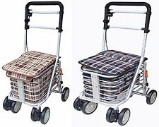 4 Wheeled Sit & Go Shopping Trolley With Adjustable Handle Height & Hand Break