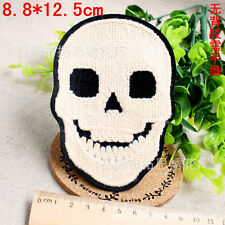 Smiling face skull ghost fancy Towelling embroidered patch Sew On Cloth badge