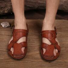 Summer Men's closed toe genuine leather breathable vintage beach soft sandals