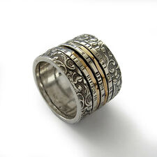 925 Sterling Silver Gold Ring Filigree Spinner Band Hammered Wide Oxidized 16mm