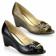 Ladies Womens New Mid High Wedge Heel Peep Toe Work Pumps Party Court Shoes Size