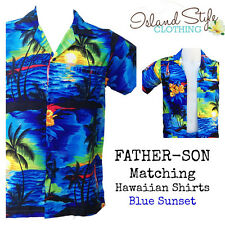 Father Son Matching Hawaiian Shirts | Blue Sunset