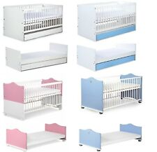 Baby Child COT BED CONVERTS INTO JUNIOR BED free MATTRESS 140x70cm (DRAWER)
