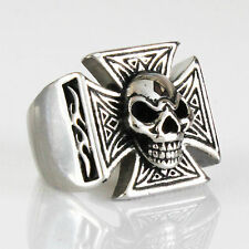 NEW MENS MALTESE CROSS SKULL BIKER MOTORCYCLE STAINLESS STEEL RING ALL SIZES