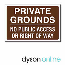 PRIVATE GROUNDS NO PUBLIC ACCESS OR RIGHT OF WAY SIGN, Aluminium Composite
