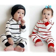Kids Baby Boy Infant Striped Romper Jumpsuit Bodysuit Clothes Outfit Hooded