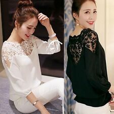 New Fashion Womens Lace Sheer Long Sleeve Casual Loose Blouse Shirt Tops Blouse
