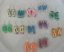 Cute Retro Funky Novelty hand made polymer clay flip flop earrings