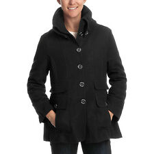 Excelled Collection Women Wool Coat 1612RL Rib-Knit Collar - Black  XL Brand New