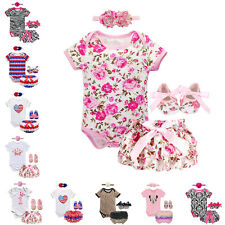 New Baby Girls Floral Outfit Set Clothes 4PCS Infant Romper Headband Pants Shoes