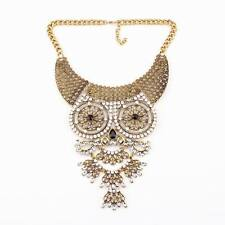 chain big alloy pendant crystal owl vintage chunky statement necklace for women