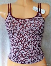 LADIES BURGUNDY WINE CREAM STRETCHY TACTEL CAMISOLE DRESSY TOP SUMMER BNWT