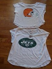 VICTORIAS SECRET PINK BLING NFL CLEVELAND BROWNS/JETS FOOTBALL CROP TEESHIRT NWT