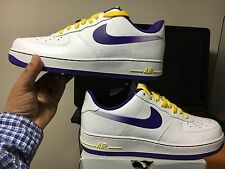 """NIKE AIR FORCE 1 MENS """"Lakers Edition White Purple"""" 488298 143 Under Retail! DS"""