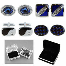 Mens Gents Silver Tone Cuff Links Four Styles, and Cuff Link Boxes in Two Styles