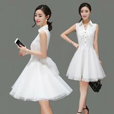 Summer Korean Fashion Women Sleeveless Waist Solid Sweet Shirt Mini Dress Slim