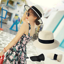 Men Women Straw Fedora Panama Floppy Packable Foldable Travel Beach Sun Hat