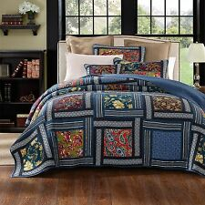 DaDa Bedding Bohemian Ocean Blue Floral Paisley Patchwork Quilted Bedspread Set