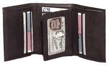 Genuine Cowhide Leather Men's RFID Tri-Fold Wallet BLACK, BROWN, TAN #4584-R US