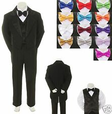 6PC Set Baby Toddler Kid Formal Wedding Black Boy Suit Tuxedo Tie 13 Color S-18
