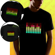 Men Sound Activated LED Electro T-Shirt Super DJ Music DISCO Party Dance Tee Top