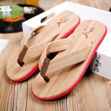 Summer Men Wood Beach Sandals Soft Beach Flip Flops Canvas Slippers
