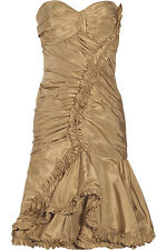 $2710 New Oscar de la Renta Gold  Silk taffeta Strapless Evening DRESS 8