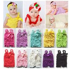 Baby Girls Lace Ruffle One-Piece Petti Romper Infant Jumpsuit Photo Outfit 3-24M