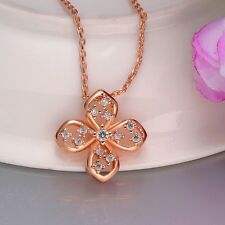 Women Hot 18K Gold Plated Rhinestone Crystal Flower Bride Chain Necklace Pendant