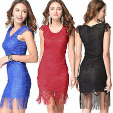 Sexy Women Sleeveless Floral Lace Tassel Bodycon Evening Party Porm Mini Dresses