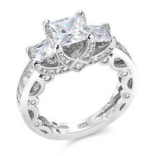 Newshe Wedding Band Engagement Ring Women 925 Sterling Silver Princess Cut Cz