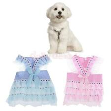 Dog Pet Puppy Clothes Clothing Lace Plaid Skirts Dress Summer Shirts XS S M L XL