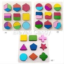 1 Set Wood Geometry Kid Baby Early Education Learning Montessori Puzzle Game Toy