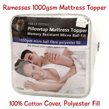 Luxury Mattress Topper Microfibre Ball Filling 1000gsm  with 100% Cotton Cover