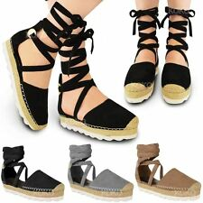 New Womens Ladies Flatform Espadrille Wedge Sandals Ankle Lace Up Shoes Size