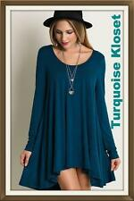 Umgee USA Teal Swing Long Sleeve Bohemian Soft Dress/Tunic S M L