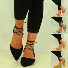 New Womens Pointed Ballet Pumps Ladies Lace Up Ballerina Sandals Shoes Size Uk