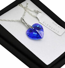 925 Silver Necklace made with Swarovski Crystals *SAPPHIRE AB* Heart