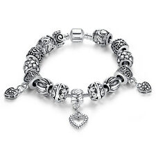 European Silver Charm Bracelet & Bangle With Heart Beads Charms Handmade Jewelry