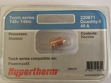 GENUINE HYPERTHERM 220671 POWERMAX 45 CUTTING NOZZLES-PACK OF 5
