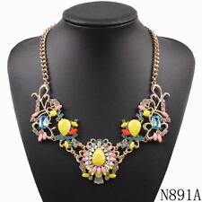 statement flower women gold plated chain crystal pendant necklace wholesale 2017