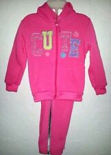 2B REAL - Toddler Girls Size 12 & 18 Moths PINK Jacket Hoodie & Pants Outfit