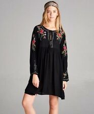 Black Boho bohemian Gypsy Hippie Floral mini short dress tunic Velzera - S, M, L