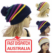 Ladies Girl Knitted Pom Pom Warmer Colour Colourful Stripes Striped Beanie Hat