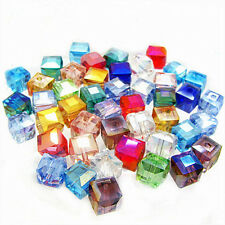 Lots Faceted Square Cube Glass Crystal Loose Spacer Beads Charm Finding 6mm