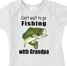 """Can't Wait To Go FISHING"" With GRANDPA Youth or Infant BASS FISH T-Shirt"
