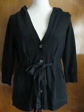 New Juicy Couture women's black 100% cashmere hooded  cardigan Size XS,S,M $328