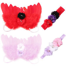 Newborn Kids Baby Feather Angel Wings Flower Hair Band Photography Prop Happy