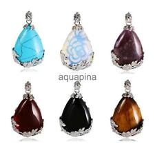 Water Drop Shape Multi-color Stone Necklace Pendant Jewelry Making Accessory
